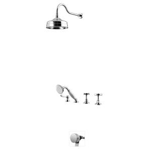 Душевой набор на борт с ручной лейкой и верхним душем, с функцией налива воды